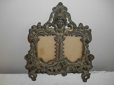 Antique Vtg. Brass Angel Cherub Double Picture Frame Victorian Ornate Gorgeous