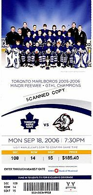 CONNOR BROWN'S O.H.L. Team Picture on a Toronto Maple Leafs Unused Ticket 2006.