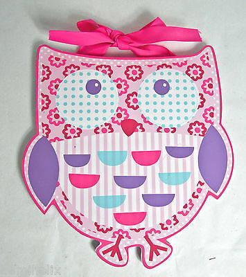 New-Pink Owl Die Cut Wooden Wall Art Baby Girls Nursery Room Decoration Hook