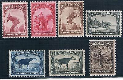 Congo - Belgian Colonial - Set Of 7 Old Stamps Mnh ( Conb 464 )