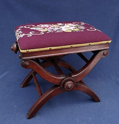 Antique 1870's L. Postawka Piano Stool with Upholstered Adjustable Height Seat