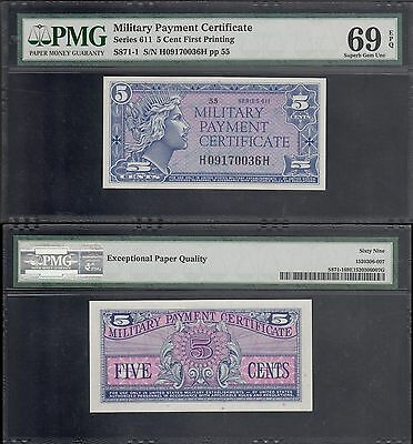 MPC Military Payment Certificate 5 Cent First Prinitng, Series 611, PMG 69 EPQ