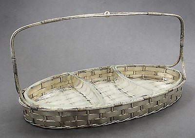 French vintage silver plate oval woven basket dish three-section glass liners