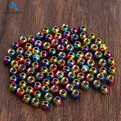 Maxcatch 25/100 Pcs Rainbow Tungsten Fly Tying Beads Multi Color Head Ball Beads