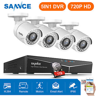 SANNCE 1080P HDMI 4CH DVR 1500TVL CCTV Security Camera System 1TB HDD APP Alarm