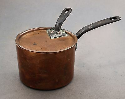 Antique Victorian copper small cooking pan lid with handle shabby chic retro