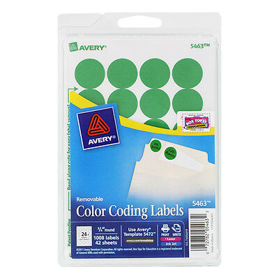 """Avery 05463 COLOR CODING LABELS * 3/4"""" Round * 1008 Labels * GREEN"""