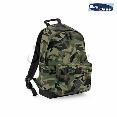 Bagbase Camo Backpack-Tactical Military/Army Style Rucksack-Polyester Travel Bag