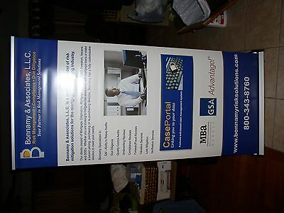 """33""""x79"""" Retractable Roll Up Banner Stand Tradeshow Sign Display, USED (lot of 5)"""