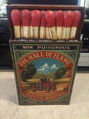 """VINTAGE CABINET """" The Hall Of Flame Safety Matches """" Made In Sweden"""