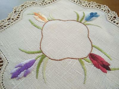 Gorgeous coloured Tulip flowers - Hand Embroidered Doily