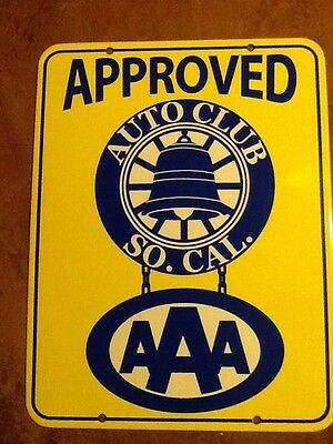 AAA New Old Stock 1960's Southern California Auto Club Approved Porcelain Sign