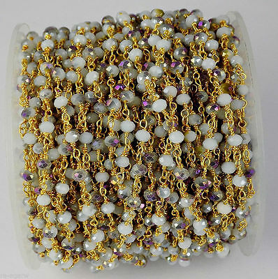 10 Feet Mystic Cats Eye Hydro Seed Beads Rosary Chain 3-4mm 24k Gold Plated
