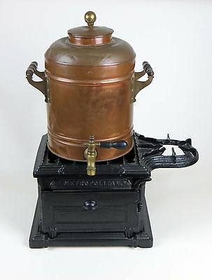 Vintage Cast Iron Stove and Copper Tea Urn