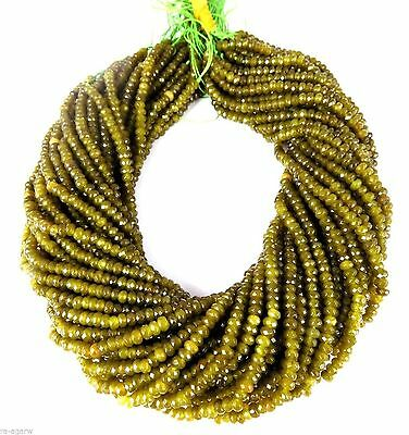 """5 Strand Nautral Green Tourmaline Chalcedony Rondelle 4mm Bead Faceted 13"""" Long"""