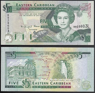 Eastern Caribbean States $5 ND 1993, P-26L, St. Lucia, Unc