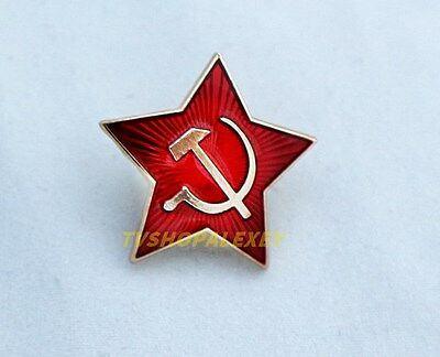 USSR Russian Army Military Red Star Cap Badge Soviet