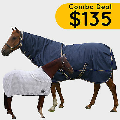 1200D Navy Blue Winter Horse Rug Detachable Neck Waterproof 300G W/ Under Rug