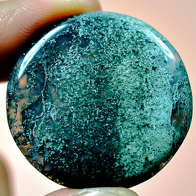 42.9 Cts Cabochon Round ideal Moss Agate GemStone Dim-34X34X5 MM S0124