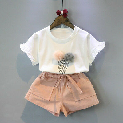 Toddler 2pcs Outfit Clothes Kids Baby Girl Ruffled Top T-shirt+Shorts Pants Suit