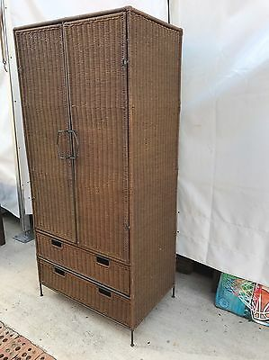 Cane And Steel Wardrobe Cabinet With Drawers Bedroom Bathroom