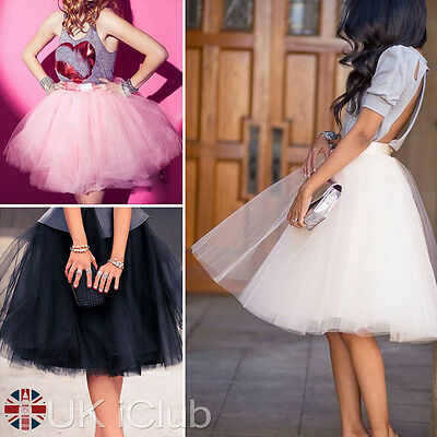 Ladies Tulle Skirt Vintage 50S Rockabilly Tutu Petticoat Ball Gown Skater Dress