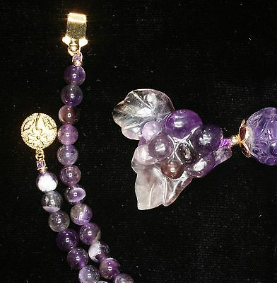 Vintage Antique Chinese Amethyst Carved Grapes Pendant & Necklace