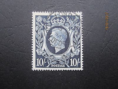 Gb Stamp - Kgv1 - Sg478 - 10/- Dark Blue - Strong Colour - G/fine Used - Two Sca