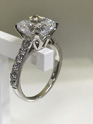 4CT Cushion-Cut Delicated Diamond Solitaire Engagement Ring 14k White Gold Over