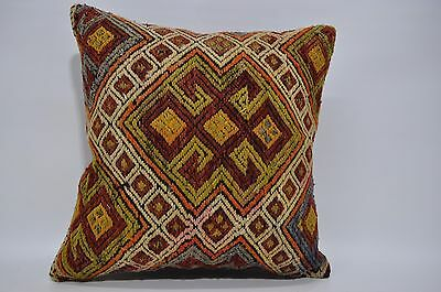 Embroidered Kilim Pillow Sofa Pillow 18x18 Handwoven Cushion Cover   55