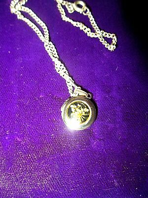 Vintage Stainless Locket  Pendant with gold flower Inlay& 16ins Chain Cased