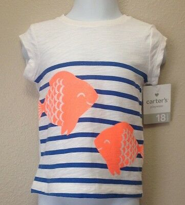 Carters 12M  Top/Shirt Girls White/Blue Stripes Fish Print Nwt