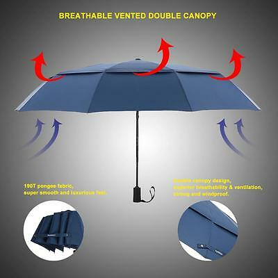 Windproof Umbrella Push Button Automatic Double Canopy Black/Navy Unisex 10 Ribs