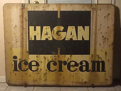 VINTAGE *RARE* Hagan Ice Cream  Dairy Double Sided Sign