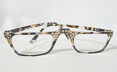 New Swarovski Crystal Jeweled Reading Glasses Browm Readers Champagne Gold +1.25