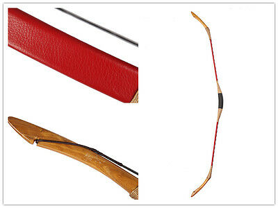 45lb New Handmade Archery Hunting Red Fine Cow Leather Longbow Recurve Bow