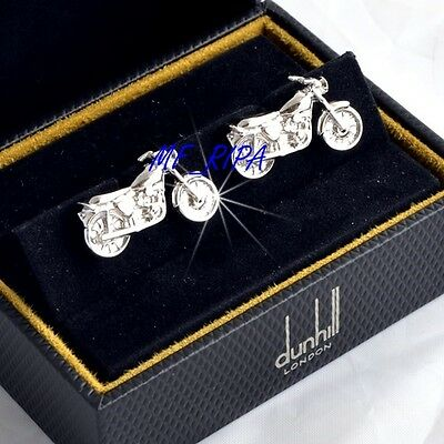 """Dunhill Gemelli """"Motorcycle"""" Argento Massiccio 925 - Cufflinks Silver Never Used"""