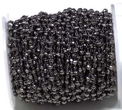 10 Feet Black Pyrite Black Oxidize Rosary Style Wire Wrapped Beaded Chain 3-4mm