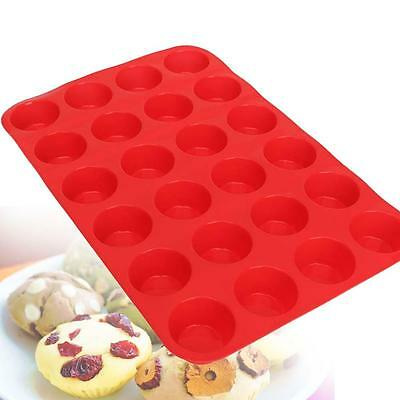 24 Cavity Mini Muffin Cup Silicone Cookie Cupcake Bakeware Pan Soap Tray Mold CX
