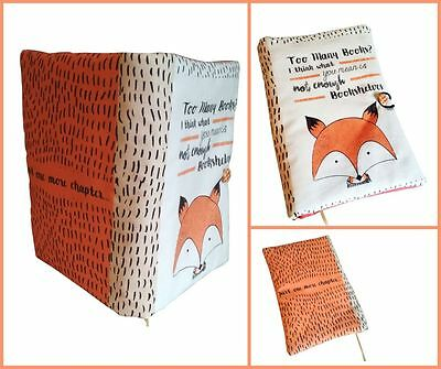 Book Cover Fox, Book Cover Fabric, Notebook Cover, Book lovers gift