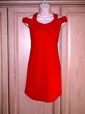 Red Cold Shoulder Dress Size M/l 10-12-,party *new*