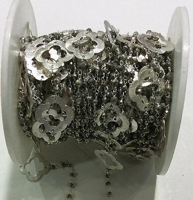 10 Feet Natural Pyrite Clover Charm Beaded Chain 925 Silver Plated Bead