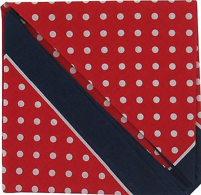 Bandana or Large Handkerchief - Red Polka Dot Navy Border