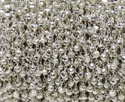 10 Feet Silver Pyrite 925 Silver Plated Rosary Beaded Chain 3.5-4mm Faceted Bead