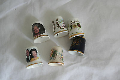 6 ceramic collectors thimbles including Masons, Limoges, Royal Worcester and Roy