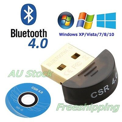 Mini USB 2.0 Bluetooth V4.0 Dongle Wireless Adapter 3Mbps Speed For PC Laptop AU