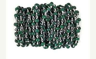 5 Feet Emerald Rosary Style Beaded Chain Corundum 925 Silver Plated 3-4 mm