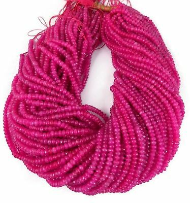 """5 Strand Pink Chalcedony Gemstone Faceted Rondelle Beads 4mm Beads 13.5"""" Long"""