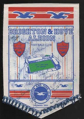 BRIGHTON & HOVE ALBION Goldstone Signed Football Pennant 1980's FREE POST UK