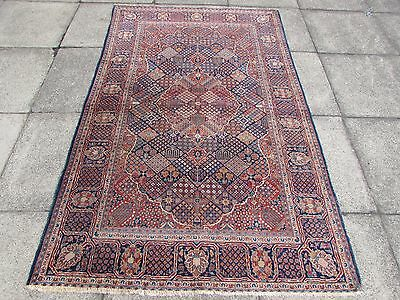 Fine Antique Traditional Persian Rug Wool Blue Oriental Hand Made Rug 208x132cm